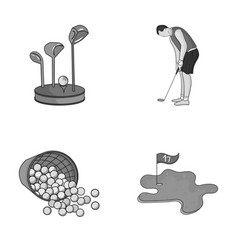 Stand for a golf club muzhchin playing with a vector