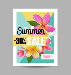 Summer sale floral banner seasonal discount ads vector