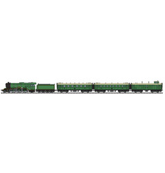 The vintage green passenger steam train vector
