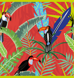 toucans palm leaves cartoon style red orange vector image
