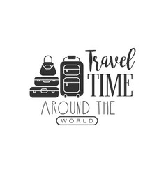 Travel label with suitcases silhouette and text vector