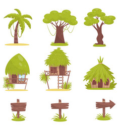 tropical tree bungalows and old wooden road signs vector image
