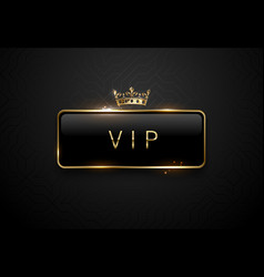 vip black label with golden frame sparks and crown vector image