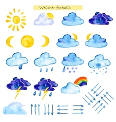 watercolor icons weather forecast vector image