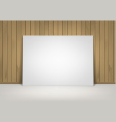 White picture with brown wooden wall front view vector