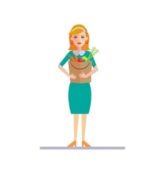 Woman Holding a Shopping Bag vector image