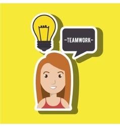 Woman teamwork idea icon vector