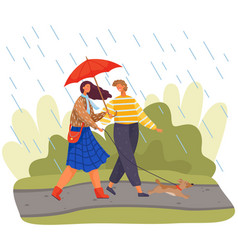young couple with umbrella walks with little dog vector image