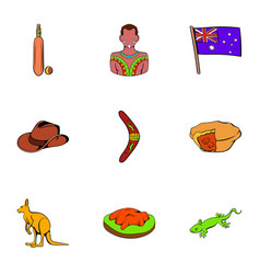 australian travel icons set cartoon style vector image