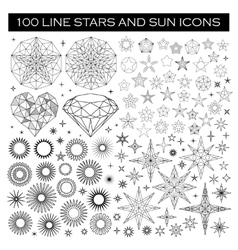 Big bundle of stars and sun icons vector