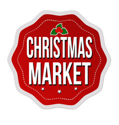 christmas market label or sticker vector image vector image