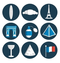 France flat icons set vector image