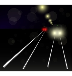 night tram in the snow in the light of a lantern vector image vector image