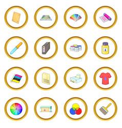 Print process icons circle vector
