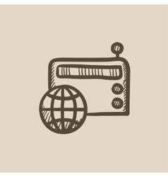 Retro radio sketch icon vector image vector image