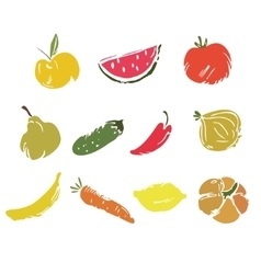Vegetables and fruits doodle set vector image vector image