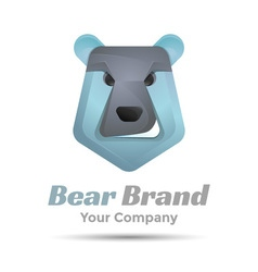 Bear face icon volume logo colorful 3d design vector