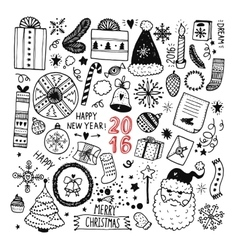 Christmas doodle collection vector image