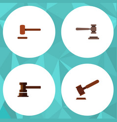 flat icon hammer set of justice government vector image vector image