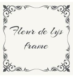 Fleur de lys ornate frame white background vector image vector image