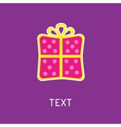 Gift box with ribbon and bow Card vector image vector image