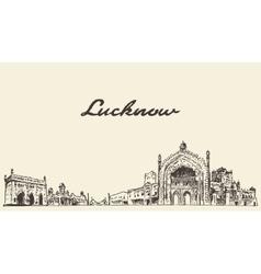 Lucknow skyline drawn sketch vector image vector image
