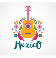 Mexico music and food elements vector