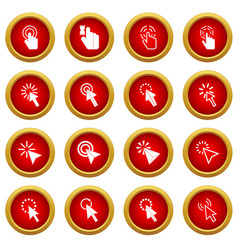 mouse pointer icon red circle set vector image