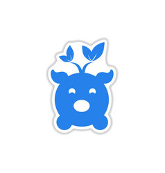 Paper sticker on white background eco pig vector