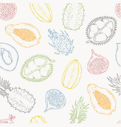 pattern of exotic fruits on a light background vector image