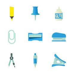 school equipment icons set cartoon style vector image vector image
