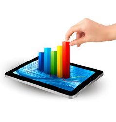 Tablet with colorful graph and women hand vector image vector image