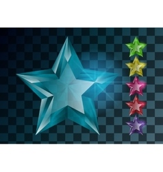 Transparent Gemstones stars isolated Set of vector image vector image