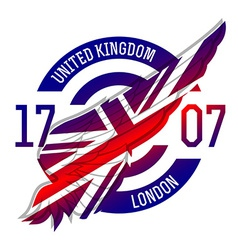 United Kingdom flag on wing Original idea with vector image vector image