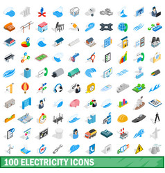 100 electricity icons set isometric 3d style vector image