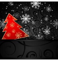 Christmas tree horizontal postcard vector image vector image