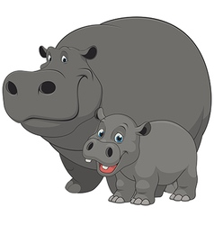 hippo with cub vector image
