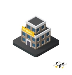 Isometric school icon building city infographic vector image vector image