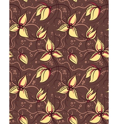 Seamless pattern yellow orchid flowers vector image