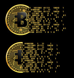 set of crypto currency bytecoin golden symbols vector image