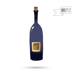 Sketch of wine bottle isolated on the white vector