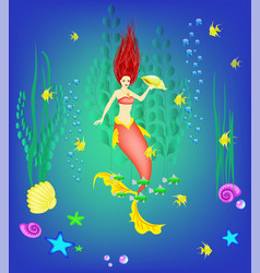 underwater world little mermaid fishes plants vector image