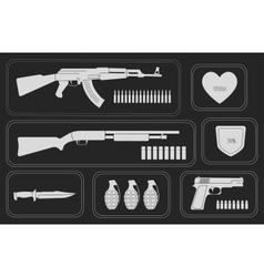 Army game resource set monochrome vector