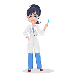 beautiful cartoon character medic holding syringe vector image