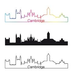 Cambridge skyline linear style with rainbow vector image vector image