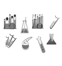 chemistry icons chemical tubes tests vector image