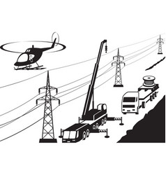 electrical transmission line maintenance and repai vector image