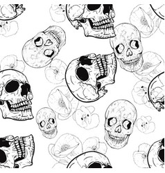 pattern with poppies and skulls vector image