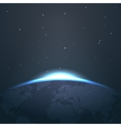 Sunrise horizon over earth from space with stars vector