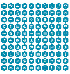 100 geography icons sapphirine violet vector image